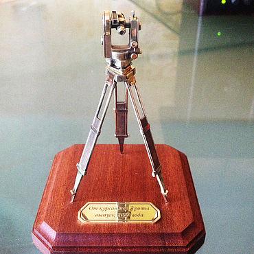 tripod + total station + stone + engraving silver 925 Gift set for the surveyor