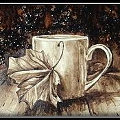 Кофейная картина  ОСЕННИЙ КОФЕ (написана кофе)