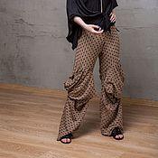 Одежда handmade. Livemaster - original item S_045 Embroidered straight pants Crazy Legs, color beige with black. Handmade.