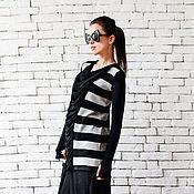 Одежда ручной работы. Ярмарка Мастеров - ручная работа Черно-белая кофточка, черный свитер. Handmade.