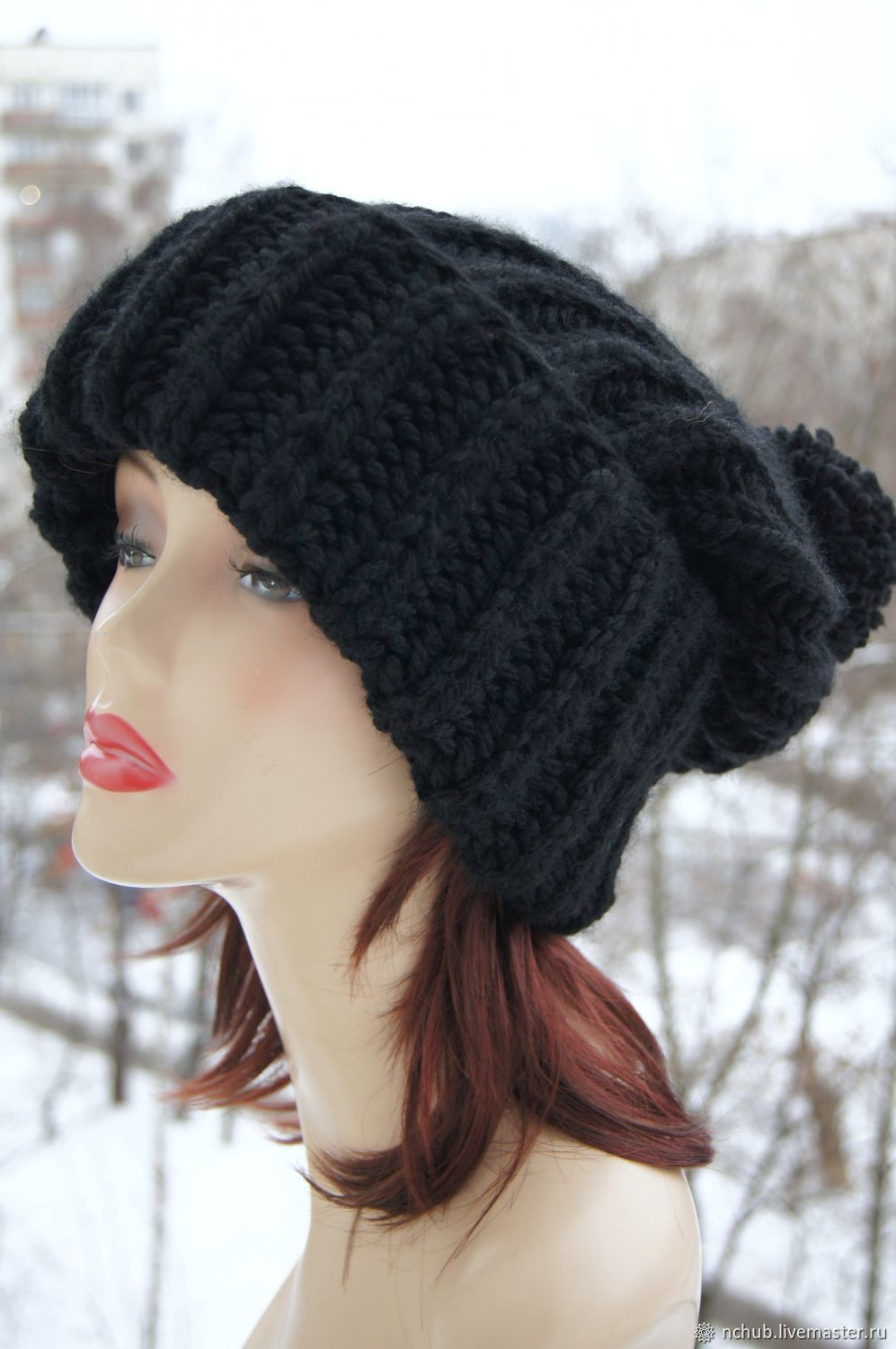 Hats handmade. Livemaster - handmade. Buy Soft Black hat with pompon  knitted from thick ... 2bf8133dc19
