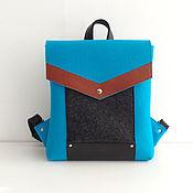 Бирюзовый рюкзак из фетра и натуральной кожи