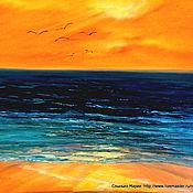 Картины и панно handmade. Livemaster - original item oil painting. Seagulls at sunset.. Handmade.