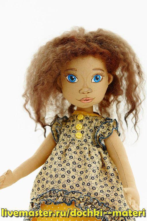 Коллекционные куклы ручной работы. Ярмарка Мастеров - ручная работа. Купить Куколка  в желтом платье. Handmade. Желтый, подарок женщине