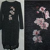"""Одежда ручной работы. Ярмарка Мастеров - ручная работа Платье-свитер """"Орхидея""""с вышивкой и кружевом .. Handmade."""