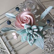 Украшения handmade. Livemaster - original item Hair clip, automatic with Rose and succulent in color, Tiffany.. Handmade.