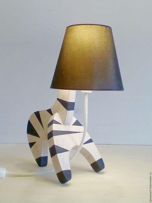 """Освещение ручной работы. Ярмарка Мастеров - ручная работа. Купить Лампа """"Зебра"""" с черным абажуром. Handmade. Белый, ночник"""