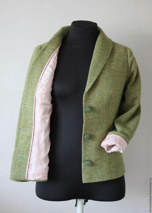 Пиджаки, жакеты ручной работы. Ярмарка Мастеров - ручная работа. Купить Жакет твидовый шерстяной рельефы на жаккардовом подкладе. Handmade.