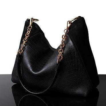 Bags and accessories handmade. Livemaster - original item Black genuine leather and suede bag. Handmade.