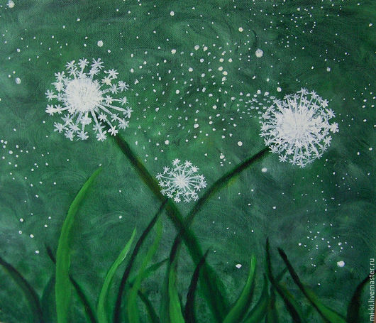 Картины цветов ручной работы. Ярмарка Мастеров - ручная работа. Купить Картина Три  одуванчика  акрил  цветы  на  фоне зеленого. Handmade.