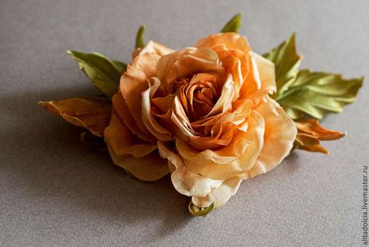 """Броши ручной работы. Ярмарка Мастеров - ручная работа. Купить Роза из шелка """"Оранжевое настроение"""". Handmade. Оранжевый, цветок из ткани"""
