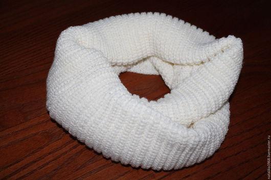 Шарфы и шарфики ручной работы. Ярмарка Мастеров - ручная работа. Купить Шарф-снуд вязаный- белый. Handmade. Белый