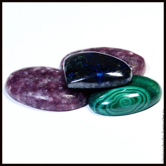 Для украшений ручной работы. Ярмарка Мастеров - ручная работа. Купить Кабошоны натуральный камень лепидолит , азурит , малахит. Handmade.