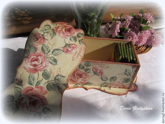 """Шкатулки ручной работы. Ярмарка Мастеров - ручная работа. Купить Шкатулка чайная """"Винтажные розы"""". Handmade. Розовый, шкатулка, винтаж"""