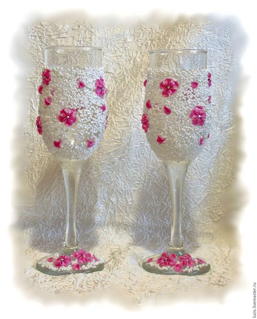 Бокалы, стаканы ручной работы. Ярмарка Мастеров - ручная работа. Купить Праздничные бокалы. Handmade. Глина, стразы, Праздник, юбилей