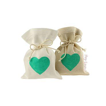 Свадебный салон ручной работы. Ярмарка Мастеров - ручная работа 10х15см. 10шт. Мешочки льняные с мятным сердцем. Handmade.