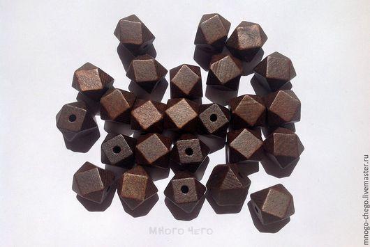 Для украшений ручной работы. Ярмарка Мастеров - ручная работа. Купить Бусины / деревянные темно-коричневые / граненый куб 20х20 мм. Handmade.