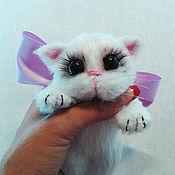 Stuffed Toys handmade. Livemaster - original item kitten, white kitten, knitted soft toy gift. Handmade.