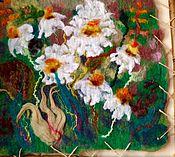 Картины и панно ручной работы. Ярмарка Мастеров - ручная работа Валяная картина Ромашки 2 маленькая. Handmade.