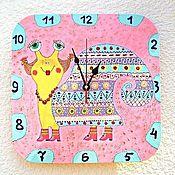 Часы классические ручной работы. Ярмарка Мастеров - ручная работа Часы настенные детские Улитка Этно, Розовый декор детской. Handmade.