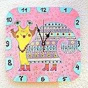 Для дома и интерьера handmade. Livemaster - original item Children`s Wall clock snail Ethno, Pink interior of the children`s room. Handmade.