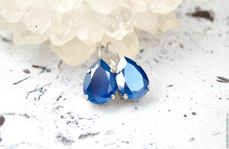 Earrings with Swarovski crystals on a short shackle, Earrings, Volzhsky,  Фото №1