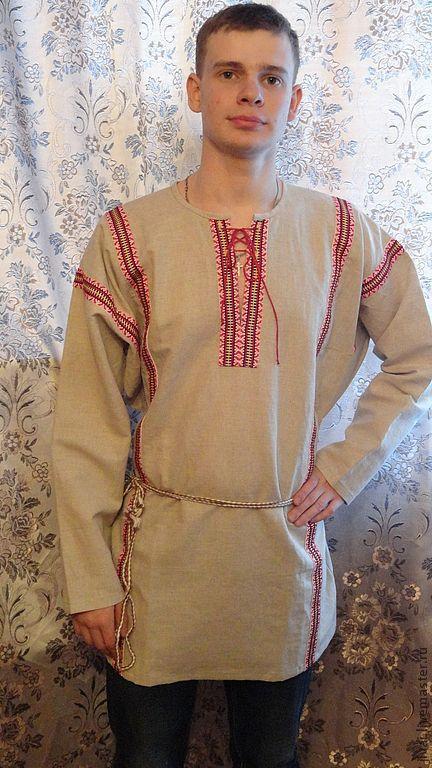 Этническая одежда ручной работы. Ярмарка Мастеров - ручная работа. Купить мужская рубаха Добрый молодец. Handmade. Бежевый