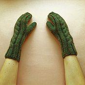 Аксессуары handmade. Livemaster - original item Knitted mittens from the wool with Alpaca. Handmade.