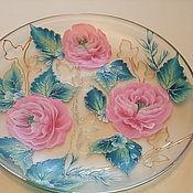 Посуда ручной работы. Ярмарка Мастеров - ручная работа Декоративная тарелка с розами. Handmade.