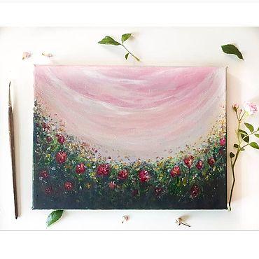Картины и панно ручной работы. Ярмарка Мастеров - ручная работа Интерьерная картина летние цветы красные цветы красные пионы. Handmade.