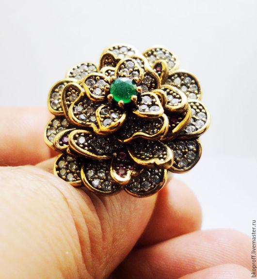 """Кольца ручной работы. Ярмарка Мастеров - ручная работа. Купить Шикарное серебряное кольцо 925 пробы изумруд """"Цветок Королевы"""". Handmade."""