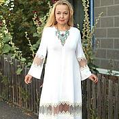 "Одежда handmade. Livemaster - original item Knitted dress ""Lace smooth""Cozy MIDI cotton-white. Handmade."