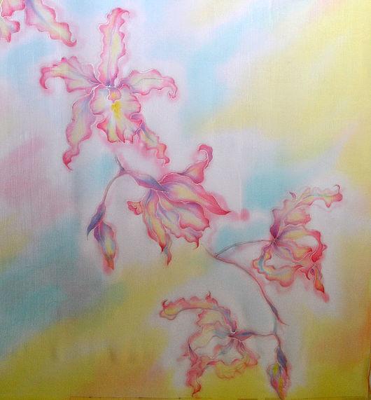 """Шарфы и шарфики ручной работы. Ярмарка Мастеров - ручная работа. Купить Батик шарф шелковый """"Солнечные орхидеи"""". Handmade."""