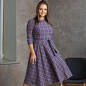 Одежда handmade. Livemaster - original item Checkered lilac and graphite dress. Handmade.