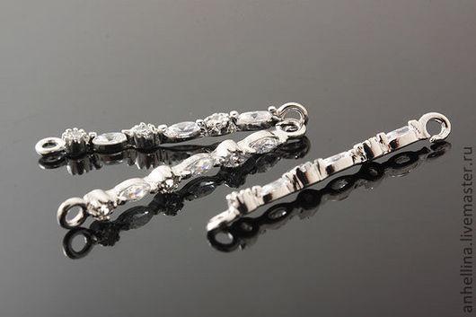 Для украшений ручной работы. Ярмарка Мастеров - ручная работа. Купить Коннекторы с фианитами (серебро)  2.2 х 25 мм. Handmade.