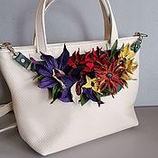 Сумки и аксессуары handmade. Livemaster - original item Bag leather women`s Bag with flowers. Tropical bouquet milk. Handmade.