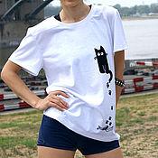 Одежда handmade. Livemaster - original item White women`s oversize vacation t-shirt, cat t-shirt. Handmade.