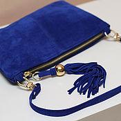 Сумки и аксессуары handmade. Livemaster - original item Blue clutch bag with handle on the carbines of art. S108. Handmade.