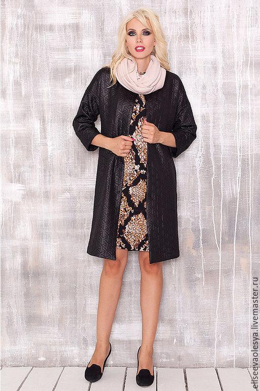 Верхняя одежда ручной работы. Ярмарка Мастеров - ручная работа. Купить Пальто из фактурного трикотажа со снудом 27005. Handmade.