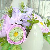 Цветы и флористика handmade. Livemaster - original item Mini-composition with Ranunculus flowers made of polymer clay. Handmade.
