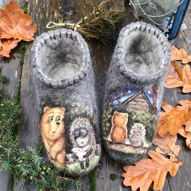 Валяные тапочки (домашние валеночки)  «Ёжик и Медвежонок», Тапочки, Солнечногорск, Фото №1