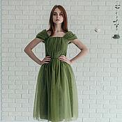 Одежда ручной работы. Ярмарка Мастеров - ручная работа Платье лесной нимфы из фатина оливкового цвета. Handmade.