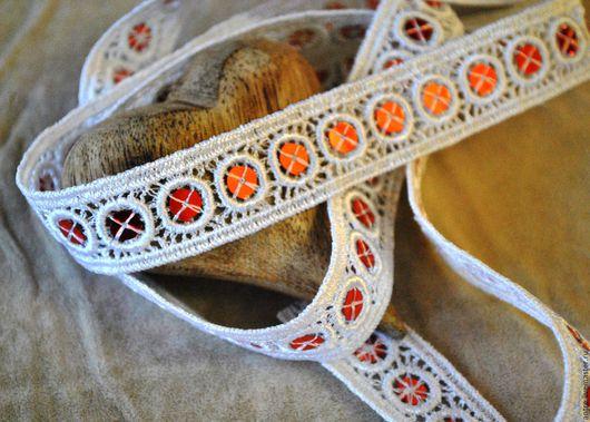 Шитье ручной работы. Ярмарка Мастеров - ручная работа. Купить Кружевная тесьма с пайетками узкая (Франция). Handmade. Белый