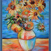 """Картины и панно ручной работы. Ярмарка Мастеров - ручная работа картина шерсть под стекло """"Подсолнухи"""" (по творчеству Ван Гога). Handmade."""