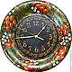 """Часы """"Клубнички"""" выполнены по мотивам хохломской росписи. Аппетитный аксессуар для кухни в русском стиле."""