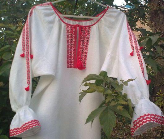 Одежда ручной работы. Ярмарка Мастеров - ручная работа. Купить Рубаха женская льняная с ручной вышивкой 1. Handmade.