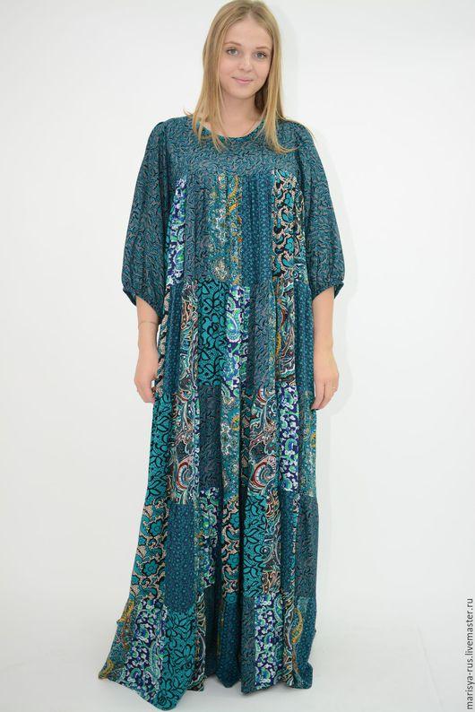 """Платья ручной работы. Ярмарка Мастеров - ручная работа. Купить Лоскутное платье """"Шкатулочка"""". Handmade. Тёмно-зелёный, платье в пол"""