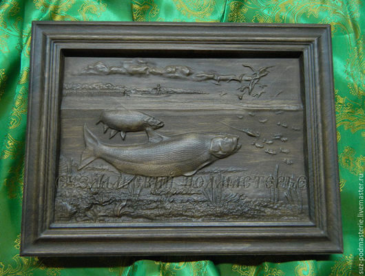 Животные ручной работы. Ярмарка Мастеров - ручная работа. Купить Деревянное резное панно Рыбак. Handmade. Панно рыбак, рыбка