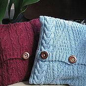 Для дома и интерьера ручной работы. Ярмарка Мастеров - ручная работа Комплект подушек, связанных на спицах узорами аран.. Handmade.