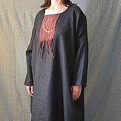 Платье изо льна.Балахон с валеной вставкой Завиток.